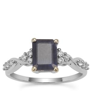 Ethiopian Sapphire Ring with White Zircon in 9k White Gold 2.19cts