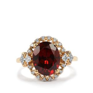 Zanzibar Zircon Ring with Diamond in 18K Gold 5.28cts