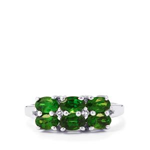 Chrome Diopside Ring with White Topaz in Sterling Silver 1.69cts