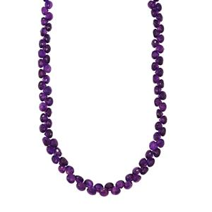 Zambian  Amethyst Graduated Bead Necklace in Sterling Silver 105cts