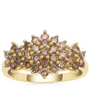 Champagne Diamond Ring in 9k Gold 1ct
