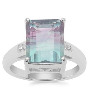 Zebra Fluorite Ring with White Zircon in Sterling Silver 5.57cts