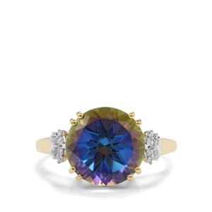 Mystic Blue Topaz Ring with Diamond in 9K Gold 5.82cts