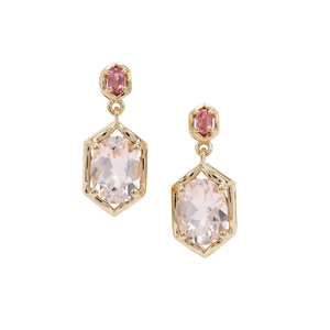 Alto Ligonha Morganite Earrings with Pink Tourmaline in 9K Gold 2.30cts