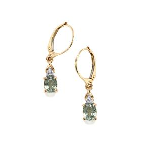Cuprian Tourmaline Earrings with Diamond in 14K Gold 1.24cts