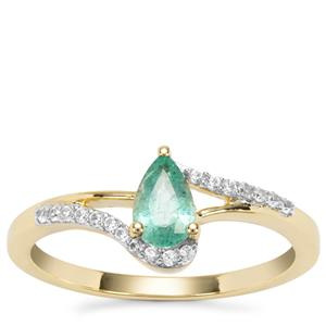 Zambian Emerald Ring with White Zircon in 9K Gold 0.49cts