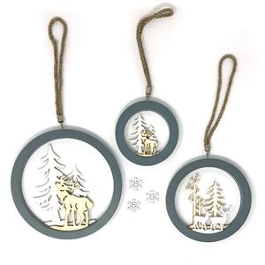 Gem Auras Stag Decoration Set with 3 Hanging Decorations and 3 LED's