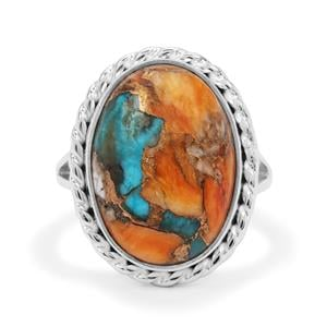 Oyster Copper Mohave Turquoise Ring in Sterling Silver 11.50cts