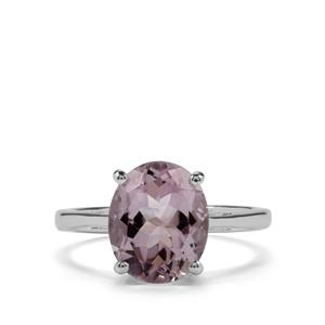3.26ct Rose De France Amethyst Sterling Silver Ring