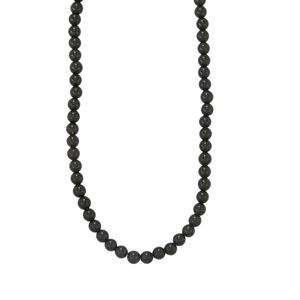 Black Onyx Bead Necklace in Sterling Silver 91cts