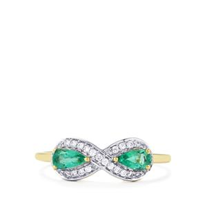Zambian Emerald Ring with White Zircon in 10k Gold 0.59ct