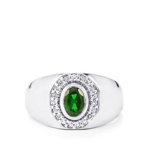 Chrome Diopside Ring with White Topaz in Sterling Silver 1.20cts