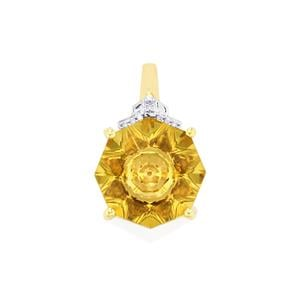 Lehrer KaleidosCut Champagne Quartz, Gouveia Andalusite Pendant with Diamond in 10K Gold 4.87cts
