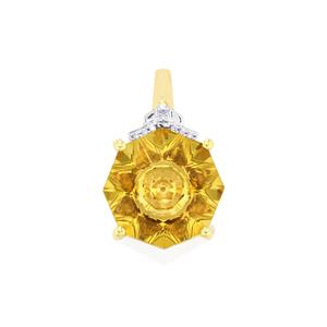 Lehrer KaleidosCut Champagne Quartz, Gouveia Andalusite Pendant with Diamond in 9K Gold 4.87cts