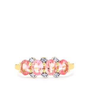 Mozambique Pink Spinel Ring with Diamond in 10k Gold 1.44cts