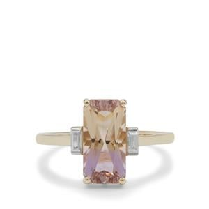 Anahi Ametrine Ring with White Zircon in 9K Gold 2.45cts