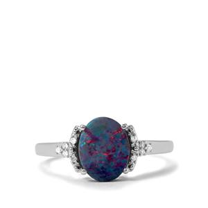 Crystal Opal on Ironstone & Diamond 9K White Gold Ring