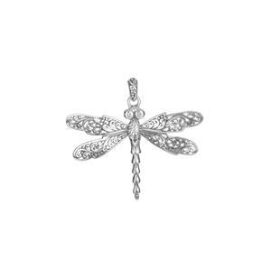 White Topaz Samuel B Dragonfly Pendant in Sterling Silver 0.08ct