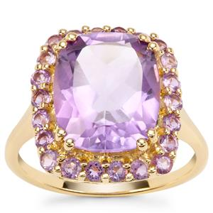 Rose De France Amethyst Ring in Gold Plated Sterling Silver 5.39cts