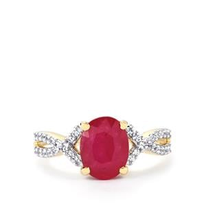 Mozambique Ruby Ring with White Zircon in 10k Gold 2.79cts