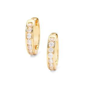 Halo Zircon Hoop Earrings in Gold Plated Sterling Silver