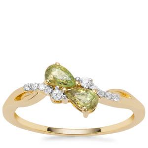 Ambanja Demantoid Garnet Ring with White Zircon in 9K Gold 0.65cts