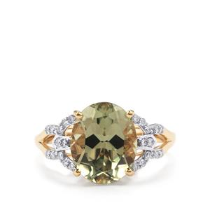 Csarite® & Diamond 18K Gold Lorique Ring MTGW 4.54cts