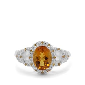 Scapolite & Yellow Diamond Sterling Silver Ring ATGW 1.66cts