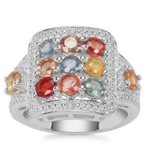 Songea Multi Sapphire Ring with White Zircon in Sterling Silver 2.67cts
