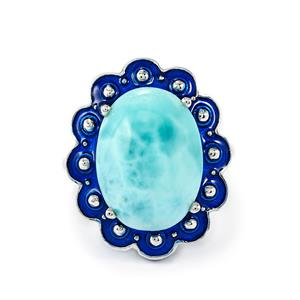 8.08ct Larimar Sterling Silver Enamel Ring