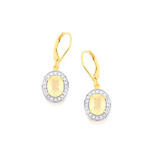 Canary Kunzite Earrings with White Zircon in Gold Vermeil 5.80cts