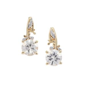 1.64ct Singida Tanzanian & White Zircon 9K Gold Earrings