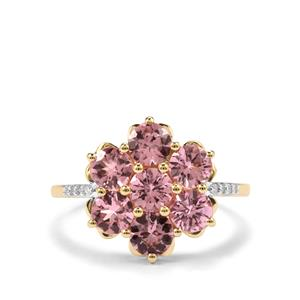 Mahenge Pink Spinel Ring with Diamond in 9K Gold 2.31cts