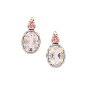 Alto Ligonha Morganite Earrings with Pink Tourmaline in 9K Gold 2.24cts