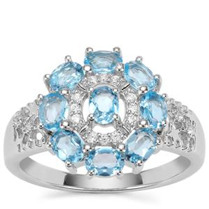 Swiss Blue Topaz Ring with White Zircon in Sterling Silver 1.59cts