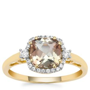Watermelon Oregon Sunstone Ring with White Zircon in 9K Gold 1.59cts