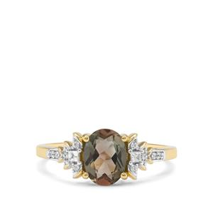 Peacock Parti Oregon Sunstone & White Zircon 9K Gold Ring ATGW 1.21cts