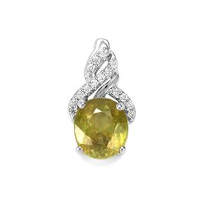 Ambilobe Sphene Pendant with Diamond in 18K White Gold 3.78cts