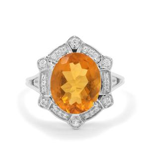 Burmese Amber & White Zircon Sterling Silver Ring ATGW 2.02cts