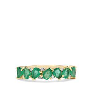 Zambian Emerald & Diamond 9K Gold Ring ATGW 1.05cts