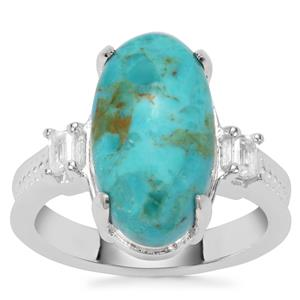 Cochise Turquoise Ring with White Zircon in Sterling Silver 6cts