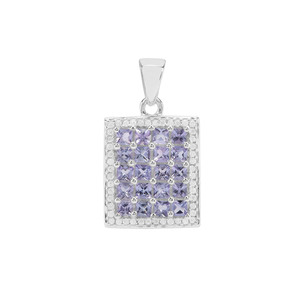 Tanzanite Pendant with White Zircon in Sterling Silver 2.14cts