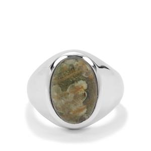 Rainforest Jasper Ring in Sterling Silver 6cts