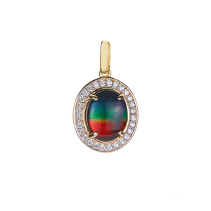 Ammolite (8x1mm) Pendant with White Zircon in 9K Gold