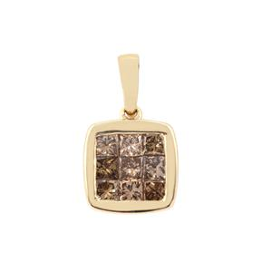 1/2ct Champagne Diamond 9K Gold Pendant
