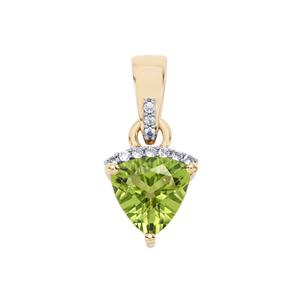 Changbai Peridot Pendant with White Zircon in 10k Gold 1.26cts