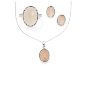 27.02ct Rose Quartz Sterling Silver Aryonna Set of Ring, Earrings & Pendant Necklace
