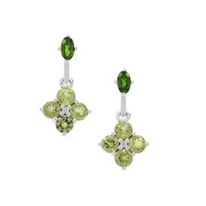 Red Dragon Peridot, Chrome Diopside Earrings with White Zircon in Sterling Silver 2.83cts