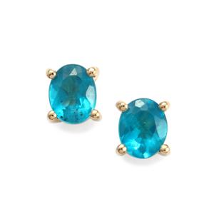 Neon Apatite Earrings in 9K Gold 0.72ct