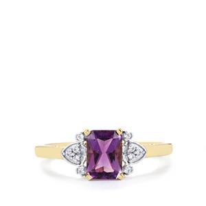 Moroccan Amethyst & White Zircon 10K Gold Ring ATGW 0.97cts